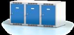Nástavec na šatní plechovou skříň trojdílný, třídveřový na soklu N1L 40 3 1 O (modul  120 cm)