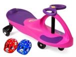 PlasmaCar růžové F vozítko s volantem a přilbou