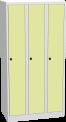 Plechová šatní skříň trojdílná s HPL dveřmi na soklu BAS_33_A_H