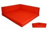 Rozkládací rohová matrace jednobarevná - 140x140x15 cm