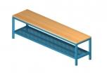 Šatní lavička s roštem z perforovaného plechu 100x35 cm