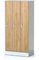 Šatní plechová skříň s naloženými dveřmi třídílná, třídveřová F1S 30 3 1 S AD (modul 90 cm)