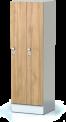 Šatní plechová skříň s naloženými dveřmi dvoudílná, dvoudveřová F1S 35 2 1 S AD (modul 70 cm)