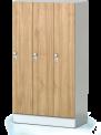 Šatní plechová skříň s naloženými dveřmi třídílná, třídveřová F1S 35 3 1 S AD (modul 105 cm)