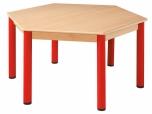 Šestihranný dřevěný stůl s rektifikační patkou průměr 120 cm - x66.11hh.color