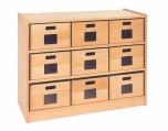 Skříňka s vloženými policemi a volnými zásuvkami MIKI - M11.010