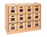 Skříňka s vloženými policemi a volnými zásuvkami MIKI - M11.011