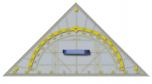 Tabulový trojúhelník s úhloměrem, plexisklo, přepona 80 cm