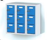Trojdílný plechový,devíti boxový minibox na soklu MB 20 3 3 O (56,7 cm)