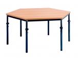 Univerzální stůl výškově stavitelný šestiúhelníkový průměr 120 cm