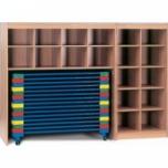Velká úložná dřevěná skříň na lehátka a lůžkoviny 226x190x62 cm (ŠxVxH)