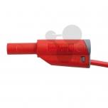 Vodič v bezpečnostním provedení s odbočkou 4 mm, 1 mm2, červený, 25 cm