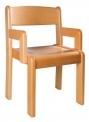 Židle s područkou TIM - mořený sedák a opěrák - C17.0xx